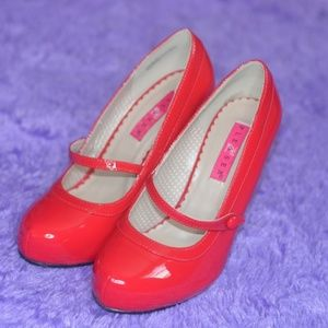PLEASER Sexy Pin-up Red Mary Jane Heels NIB 8